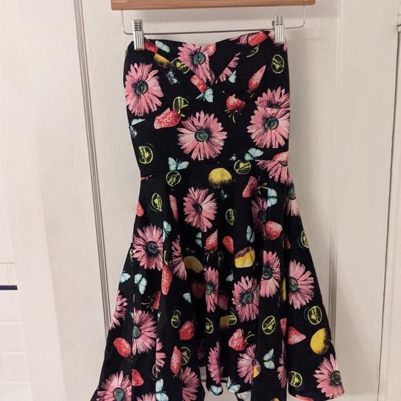 Modcloth Ixia Floral Fruity A-Line Dress